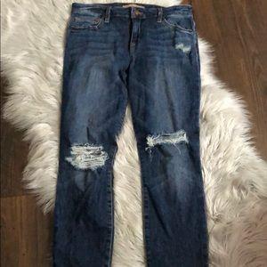Distressed Joes Jeans - skinny ankle - dark wash